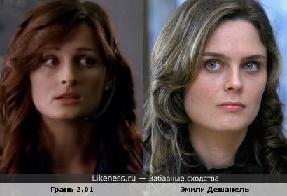 """Кадр из сериала """"Грань"""" (2 сезон 1 серия) и Эмили Дешанель"""