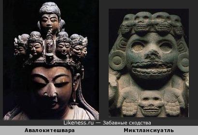 Одиннадцатиголовый Авалокитешвара и Миктлансиуатль