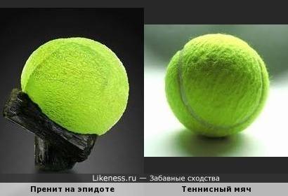 Необычная форма минерала пренит и теннисный мяч