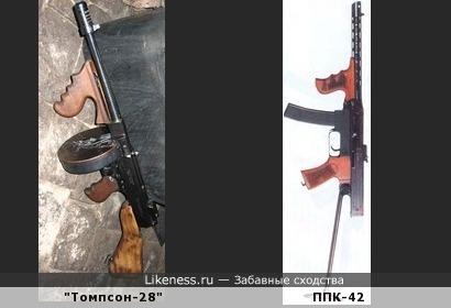 Пистолет-пулемёт Калашникова обр.1942 года в целом похож на пистолет-пулемёт Томпсона обр.1928 года