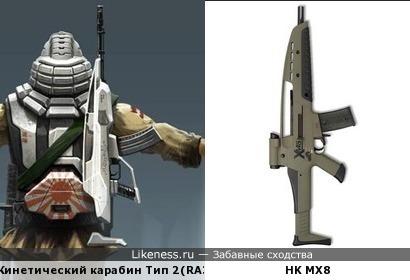 Кинетический карабин Тип 2 из вселенной Command & Conquer: Red Alert 3 похож на автомат HK MX8