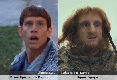 Эрик Кристиан Олсен (Тупой Ллойд) и Адам Браун (Гном Ори в Хоббит)
