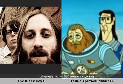 Патрик Карни и Дэн Ауэрбах (группа The Black Keys) как капитан Зеленый и профессор Селезнев (мультфильм Тайна третьей планеты)