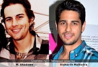 M. Shadows похож на Sidharth Malhotra