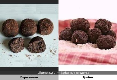 Пирожное картошка похоже на гриб трюфель