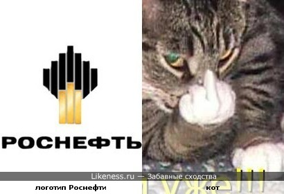 Котик показывает логотип Роснефти
