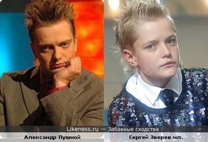 Александр Пушной похож на Сергея Зверева младшего