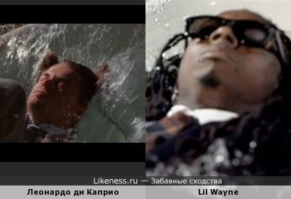 леонардо Ди Каприо кадр из фильма начало и Клип рэпера лил Уэйна