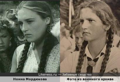 Нонна Мордюкова похожа на девушку из военного фотоархива