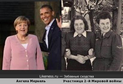 Ангела Меркель (Angela Merkel) и участница 2-й Мировой войны (фотоархив NH des Heeres)