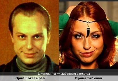 Есть сходство у Юрия Богатырёва с Ириной Забиякой