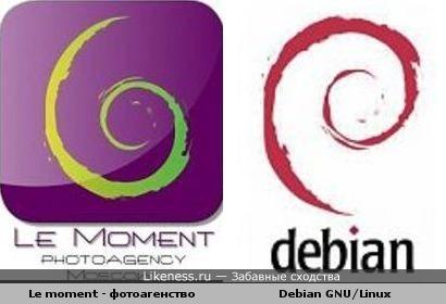 Одинаковые логотипы фотоагенства в Москве и Debian