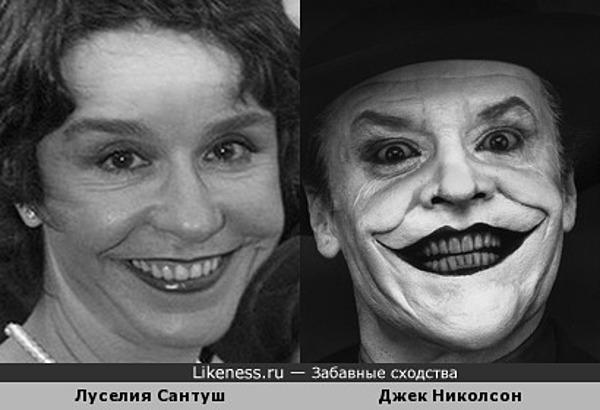 """Улыбающася Луселия Сантуш похожа на джокера из """"Бэтмена"""