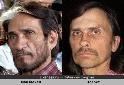Индийский актер Мак Мохан и Hornet похожи