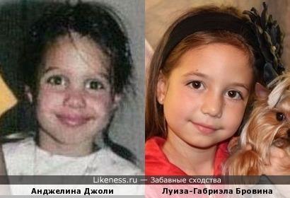 Юная актриса Луиза-Габриэла Бровина и Анджелина Джоли в детстве