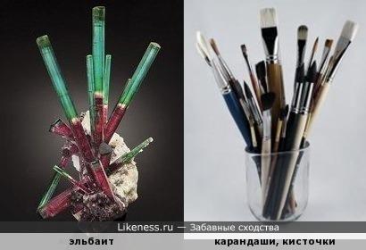 Кристаллы эльбаита похожи на канцелярские принадлежности