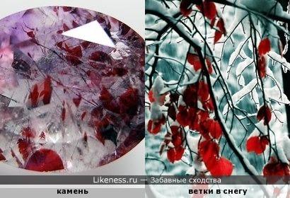 Осень на память... Вкрапления лепидокрокита в кварце похожи на замерзшие ветки с красными листьями