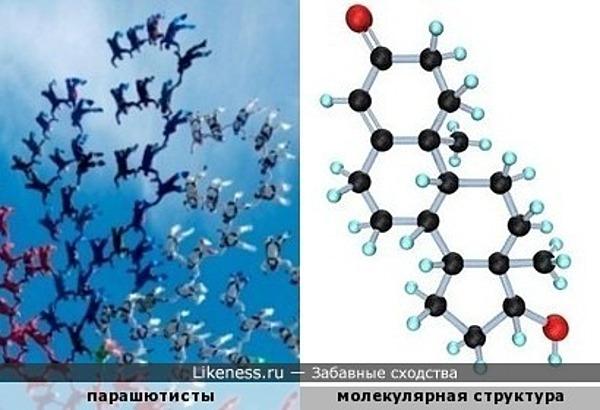Акробаты-парашютисты напоминают молекулярную структуру