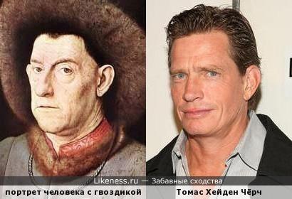 """Портрет человека с гвоздикой напомнил """"песочного человека"""
