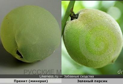 Пренит (минерал) и зеленый персик