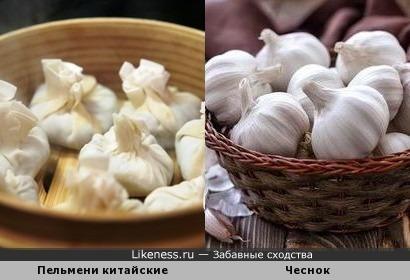 Пельмени китайские и чеснок