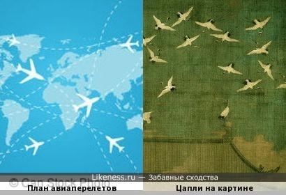 План авиаперелетов и апли на картине