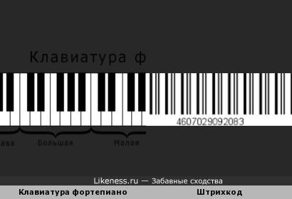 Клавиатура фортепиано и штрихкод