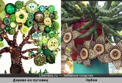 Орбея и дерево из пуговиц