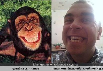 Улыбки примата и человека похожи