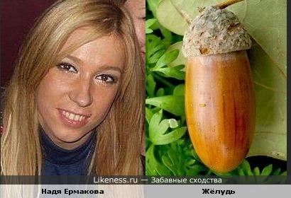 Голова Нади Ермаковой такая же,как и жёлудь
