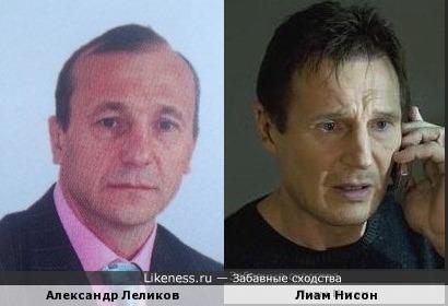президент федерации дзюдо Бурятии Александр Лёликов и Лиам Нисон
