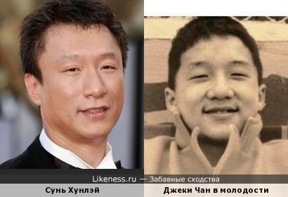 китайские актёры Сунь Хунлэй и Джеки Чан в молодости
