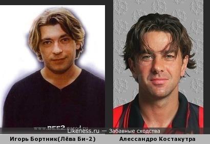 Игорь Бортник(Лёва Би-2) похож на футболиста Алессандро Костакурту