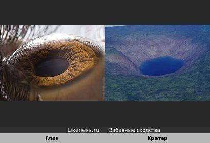 Макросъёмка глаза и метеоритный кратер