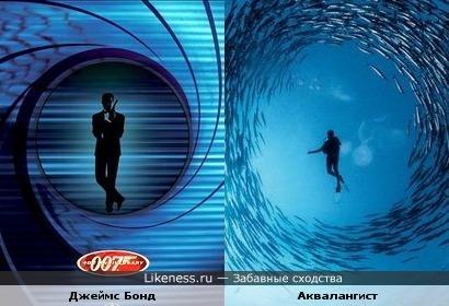 Заставка к фильму о Джеймсе Бонде напомнила мне аквалангиста в окружении рыбок