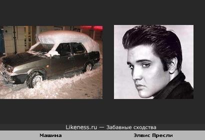 Снег на машине напомнил причёску Элвиса