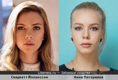 Скарлетт Йоханссон и росс. фигуристка Анна Погорилая