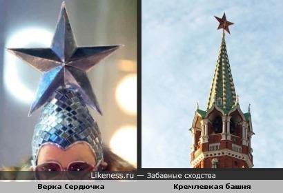 Верка Сердючка похожа на Кремлёвскую башню