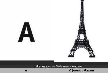 буква А и Эйфелева башня