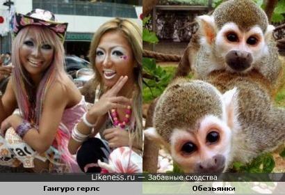 раскраска японских девушек(Гангуро) похожа на обезьянок