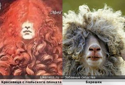 Рыжеволосая красавица с польского плаката похожа на барашка