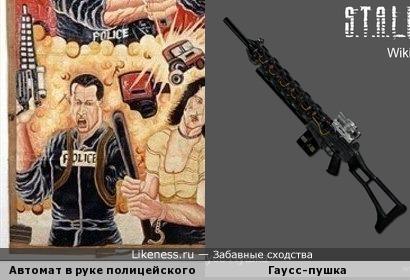 Автомат в руке полицейского с африканского постера чем-то похож на гаусс-пушку из S.T.A.L.K.E.R.