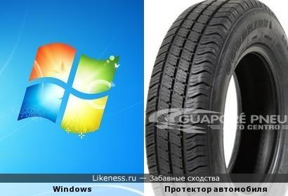 Протектор автомобиля похож на Значек Windows