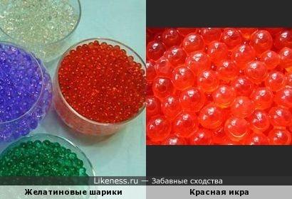 Желатиновые шарики похожи на икру