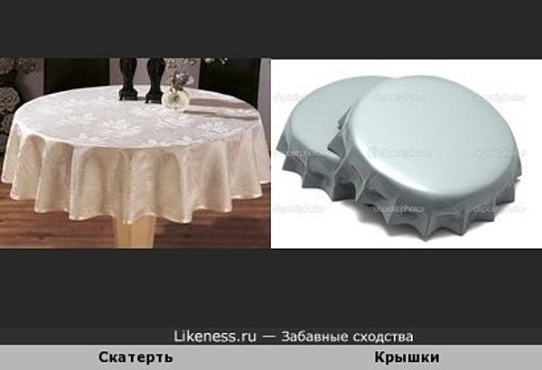Скатерть на круглом столе напоминает крышку