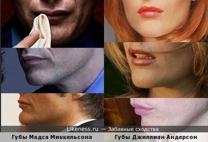 Губы Мадса Миккельсона и Губы Джиллиан Андерсон