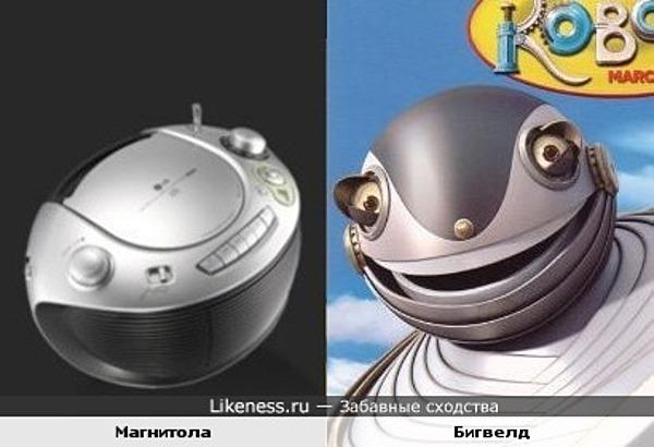 Магнитола похожа на голову робота