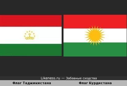 Флаги Таджикистана и Курдистана похожи