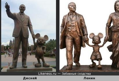 Памятник Уолту Диснею с Микки Маусом напоминает памятник Ленину с Микки Маусом и Иисусом