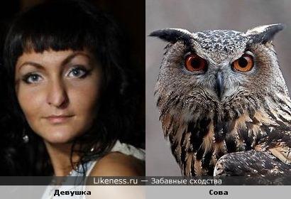 Девушка похожа на сову